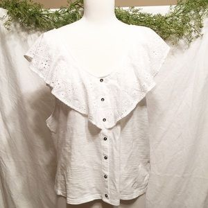 Cute AMERICAN EAGLE AEO White Ruffle Top Size XXL